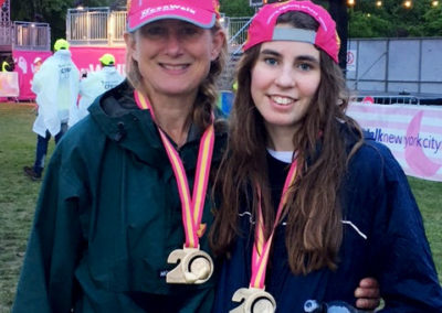 Osteopath Aude Lauriot Prevost and her daughter took part in the London Moonwalk 2017. So far they have raised more than £3,300 for breast cancer research.