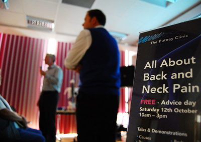All About Back and Neck Pain open day event in October 2013.