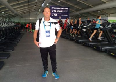 Clive Lathey in the gym in the Olympic Village.