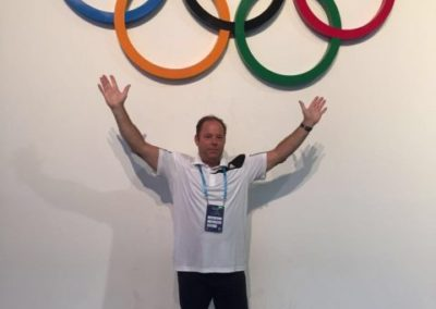 Clive Lathey and the Olympic Rings.