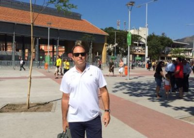 Clive outside the Olympic Stadium in Rio