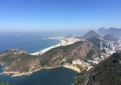 View of the infamous Copacabana beach as seen from the top of Sugarloaf Mountain.