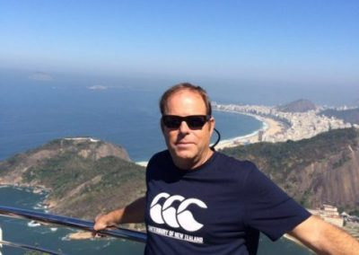 Clive  posing at the top of Sugarloaf mountain in Rio de Janeiro.