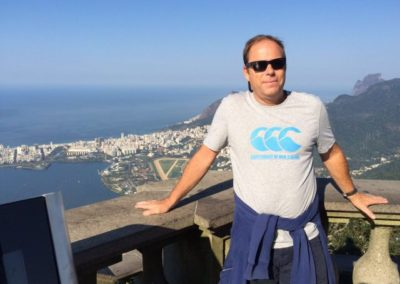 Clive  posing on top of mount Corcovado.