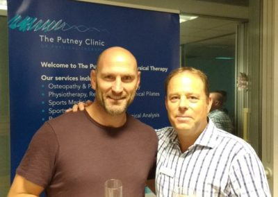 Clive Lathey with Lawrence Dallaglio during the launch of the Putney Clinic's physiotherapy department.