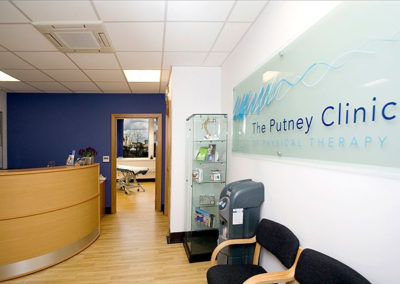 Reception area at The Putney Clinic of Physical Therapy.