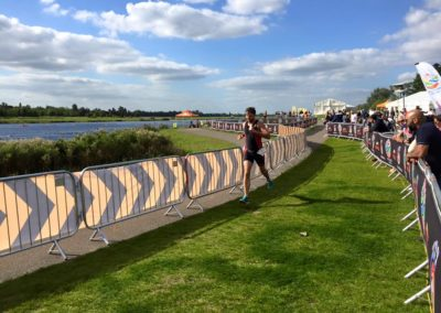 Vincent Anderson, a patient at The Putney Clinic, finishing third in the Spirit of Belron Sprint Triathlon in 2015.