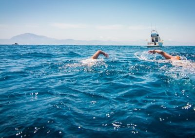 Ed Horne, a patient at The Putney Clinic of Physical Therapy, recently completed a 16.1km intercontinental swim between Spain and Morocco. At 62 years of age, he completed the swim in a 60s+ world best time of 3 hours and 36 minutes. Setting out from Tarifa, he crossed the Straits of Gibraltar with fellow swimmer Michael Fabray. Along the way, they were occasionally accompanied by dolphins and the odd jumping tuna.