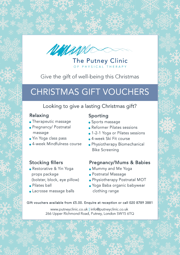 Christmas Gift Vouchers from The Putney Clinic of Physical Therapy