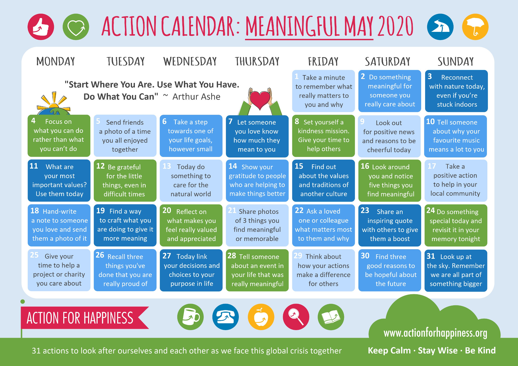 Action Calendar Meaningful May